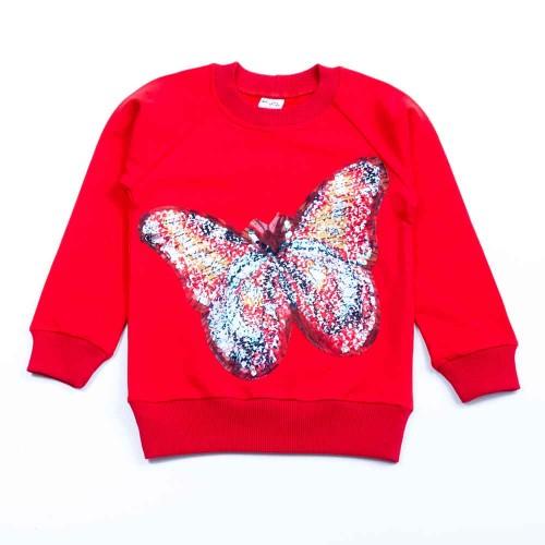 Свитшот Бабочка 6 лет 116см Красный 3431