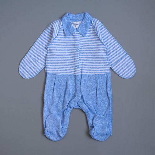 Человечек Полоска Рубашка 0-1 месяцев 56см Голубой 2230