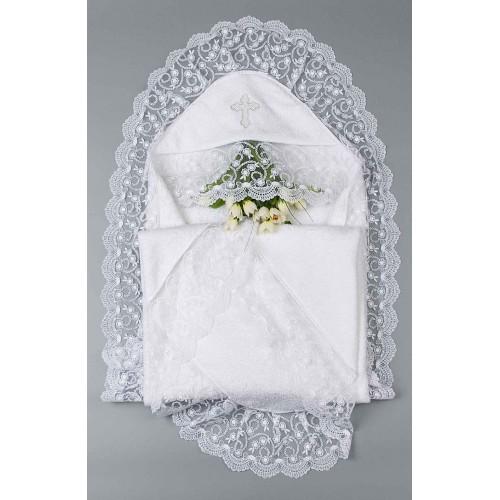 Крыжма для крещения девочке Барбара 100х100см Белый 5667